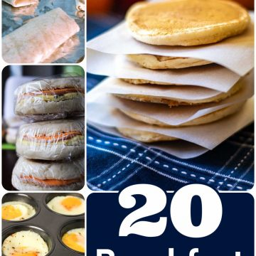 several photos of different breakfasts that are great for freezing and meal prepping.