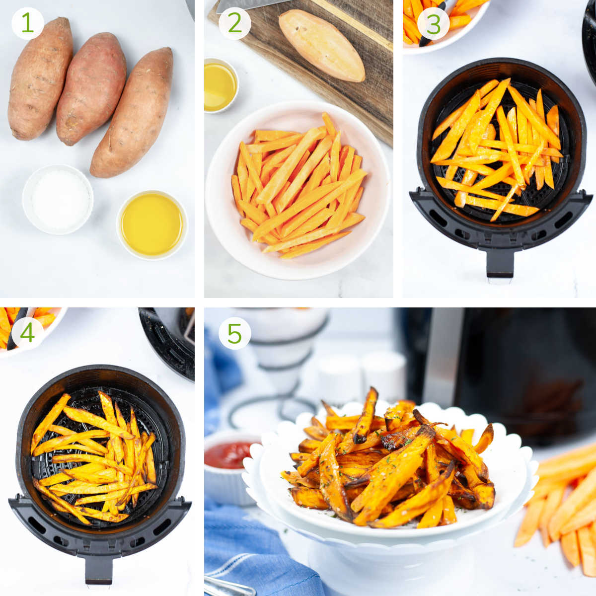 process photos showing how to peel and slice the sweet potatoes, adding them to the air fryer, cooking and serving.