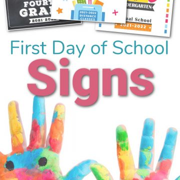 colorful handprints from an art project with the first day of school signs on top.