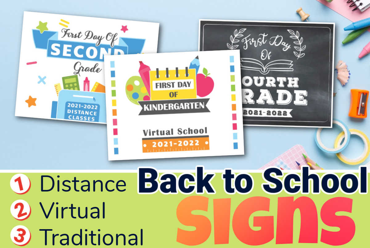 three back to school printable signs on a blue desk with Distance, Virtual and Traditional delivery called out.