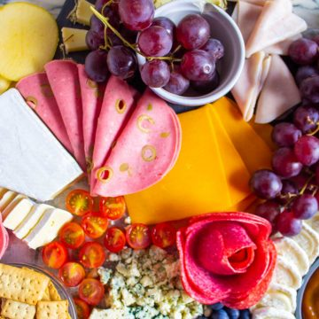 overhead shot of the charcuterie board.