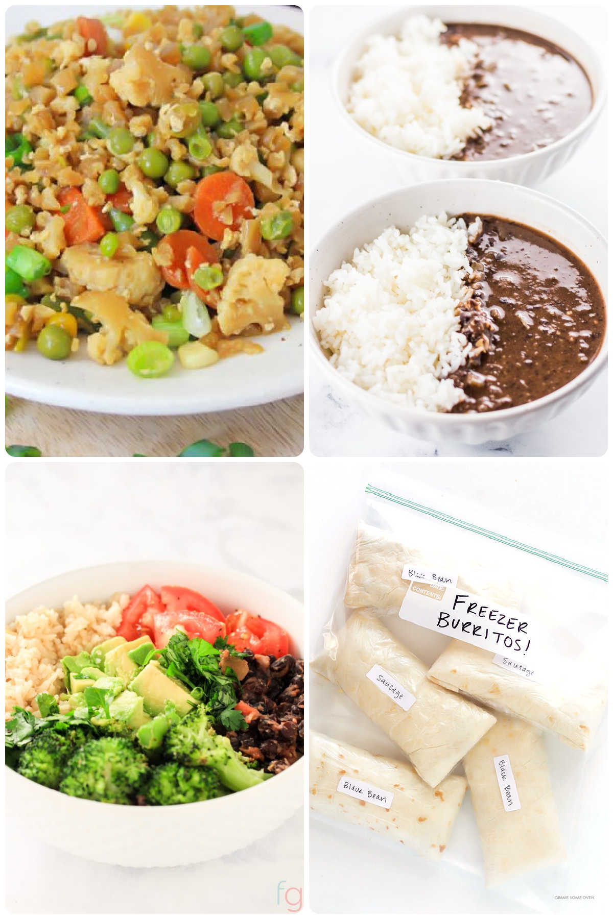 four images showing different types of vegetarian meals that can be meal-prepped.
