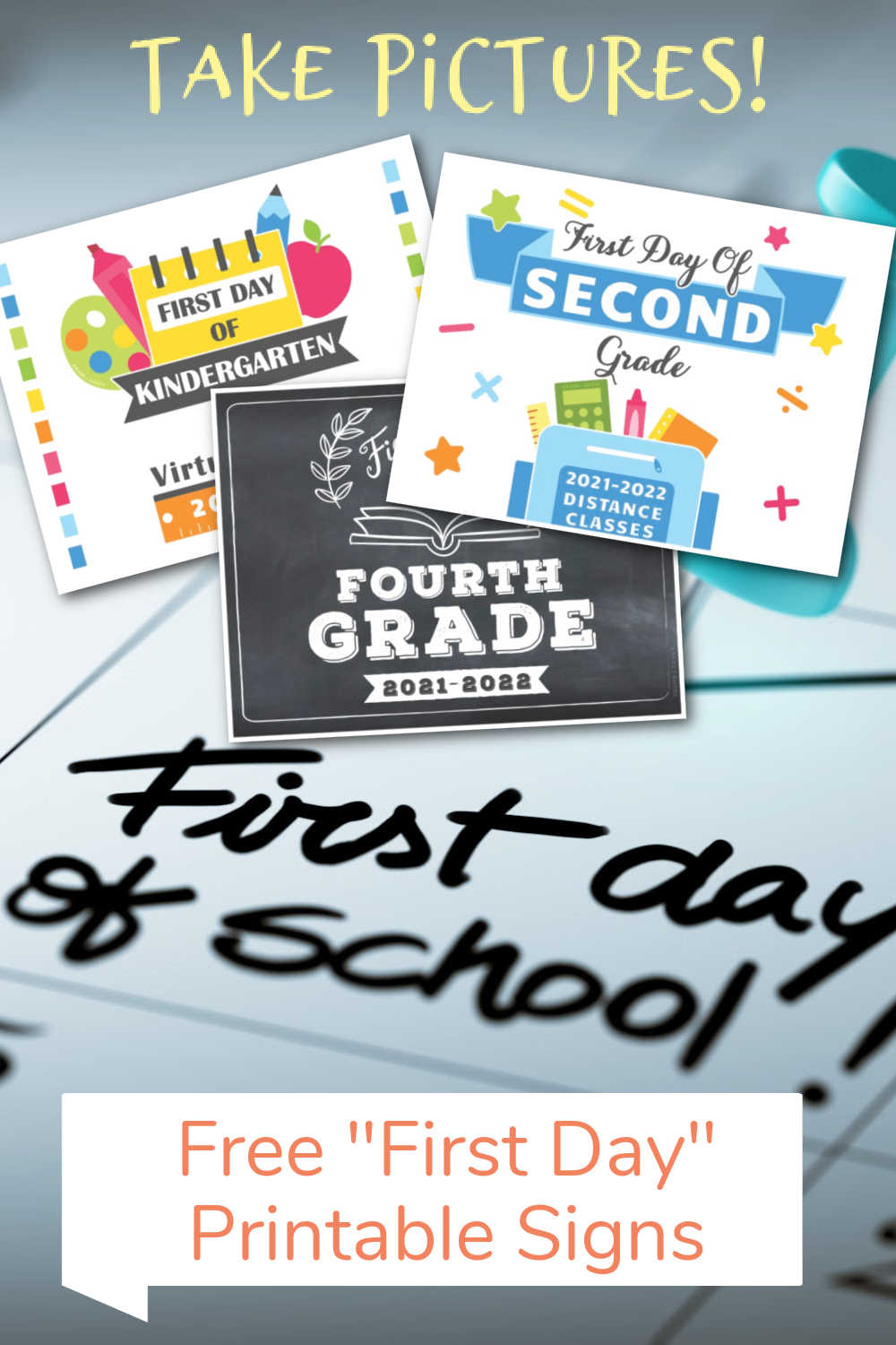 First Day of School Signs - Traditional, Virtual Distance Learning 2021-2022