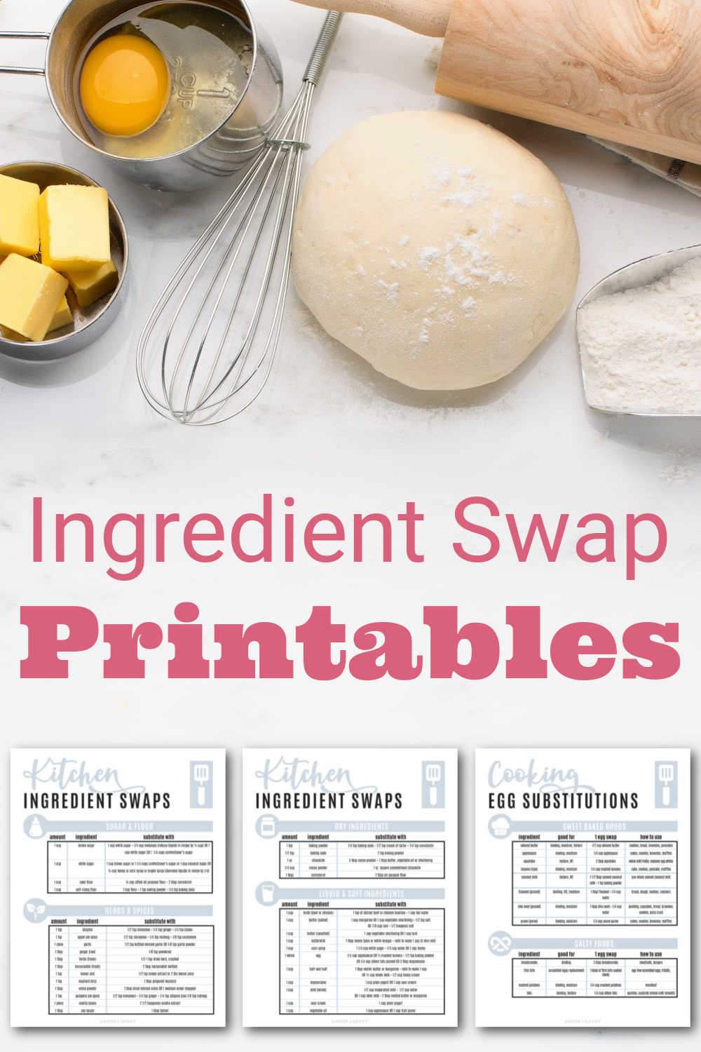 Cooking + Baking Ingredient Substitutions Chart {Free Printables}