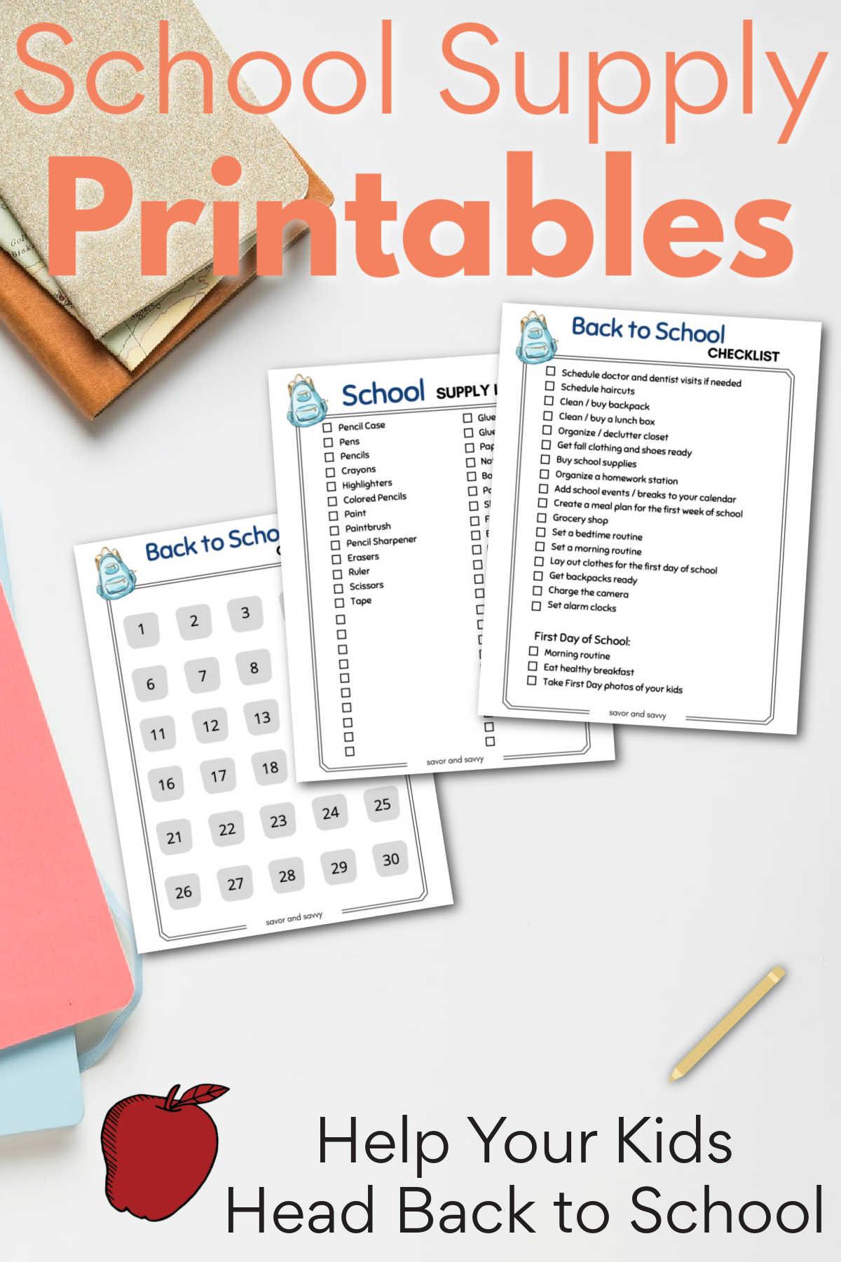 Back to School Checklist - Countdown -  Supplies Printables {FREE}