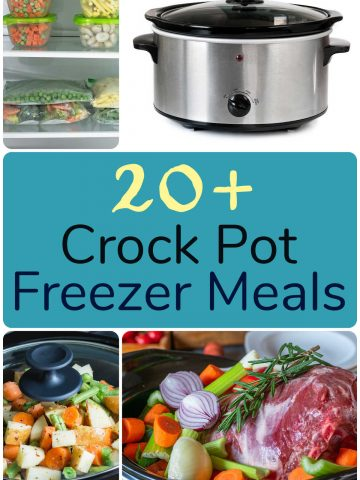 collage of photos showing freezer bags, slow cooker, and meals in the pan.