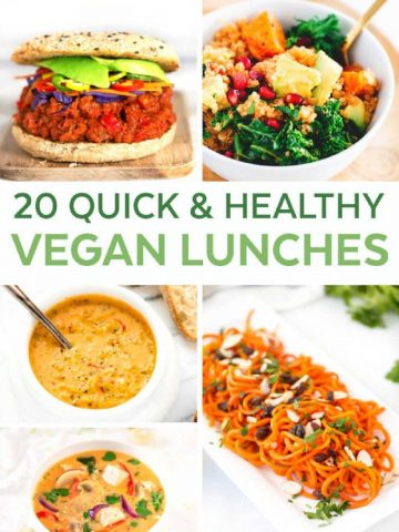 several photos of lunch ideas for vegan lunches that are quick and easy.