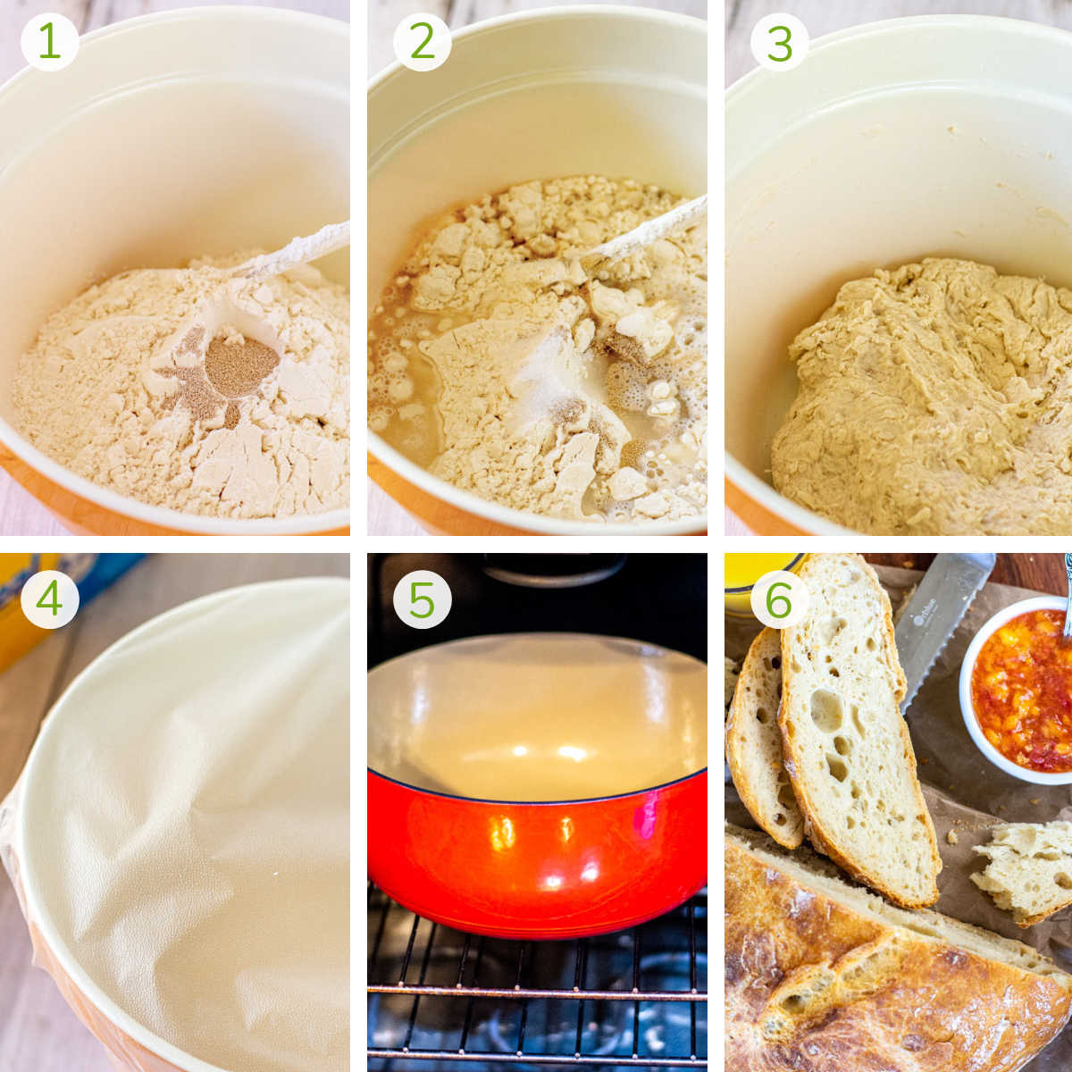 six process photos showing combining the ingredients in a bowl, letting the dough rise, heating the pan and baking.