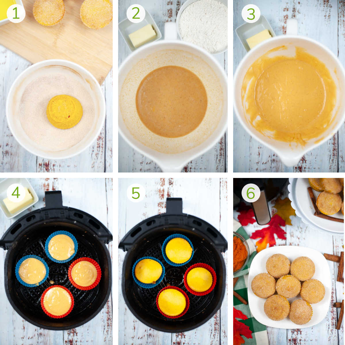 process photos showing how to make the batter, add the pumpkin to the muffin cups and air frying them.