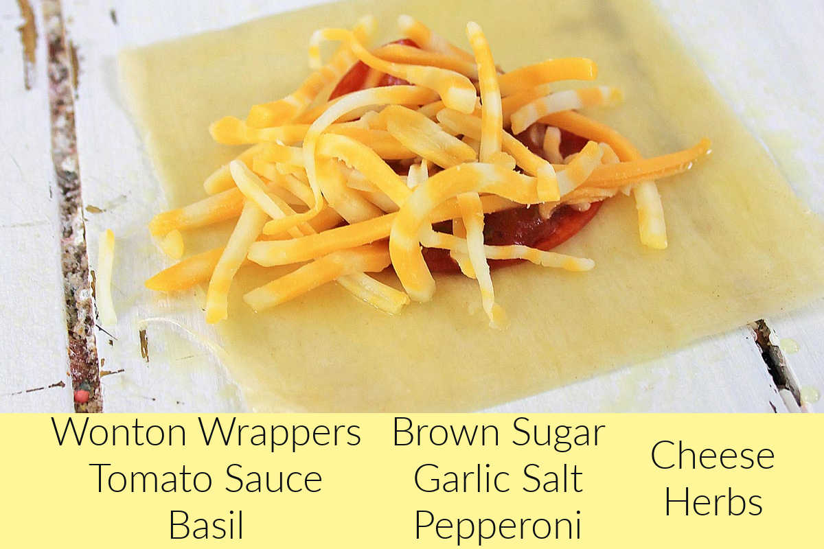 ingredient photo showing the wonton loaded with pizza items and with labels.