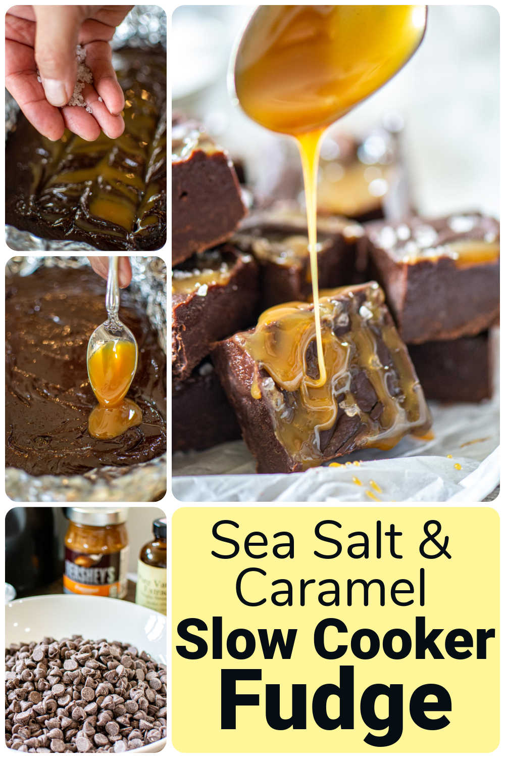 Slow Cooker Fudge with Sea Salt and Caramel