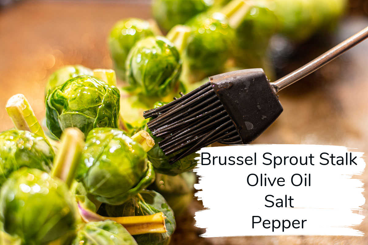 brussel sprout stalk being brushed with olive oil and sprinkled with salt and pepper, with labels.