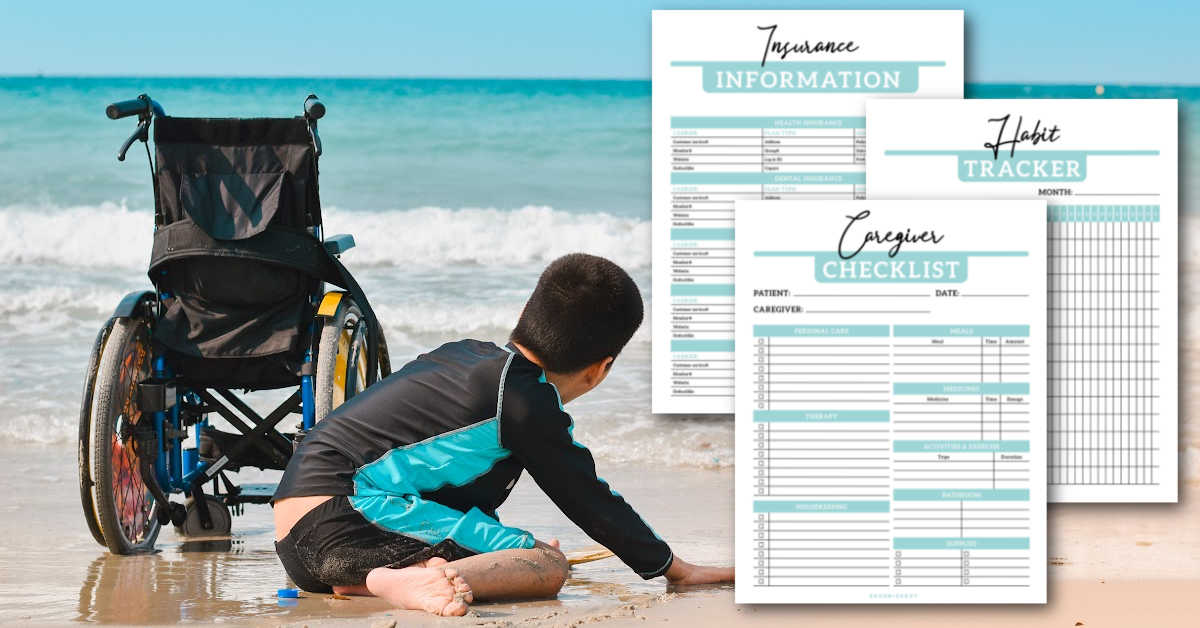 boy at the beach with a wheelchair and sample printable pages.