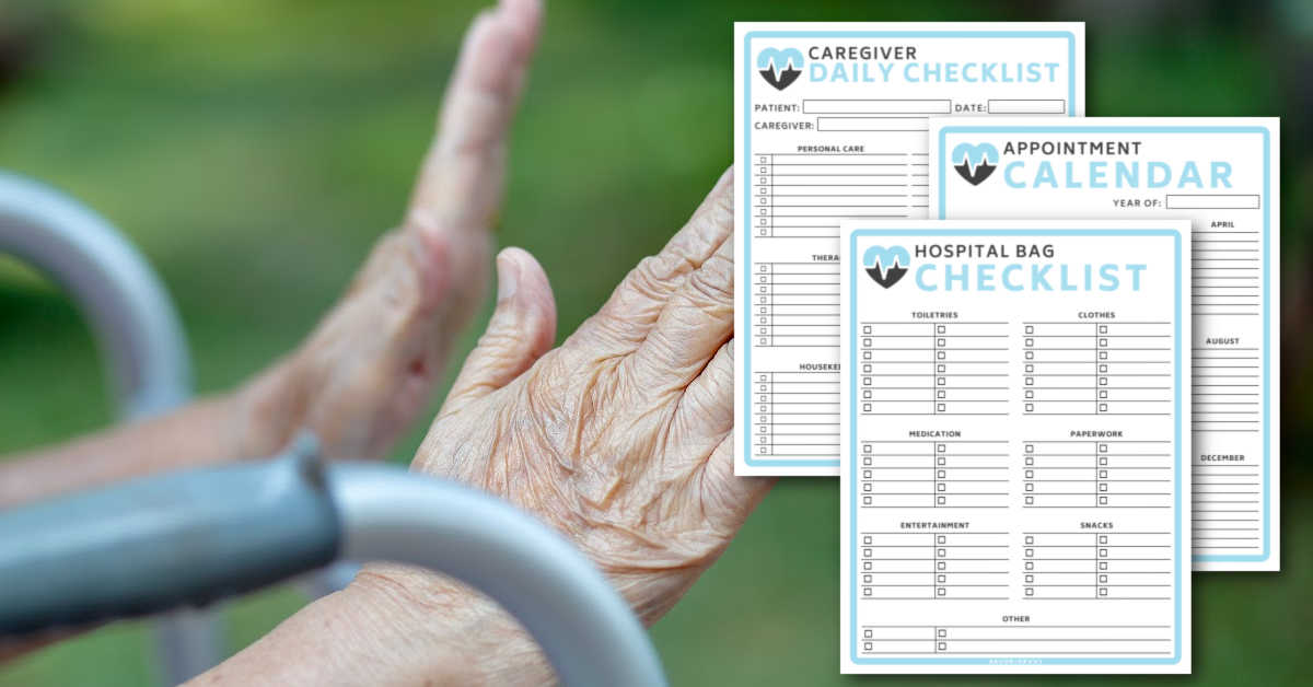 three of the pages of the medical binder for seniors with a background of a senior citizen's hand.