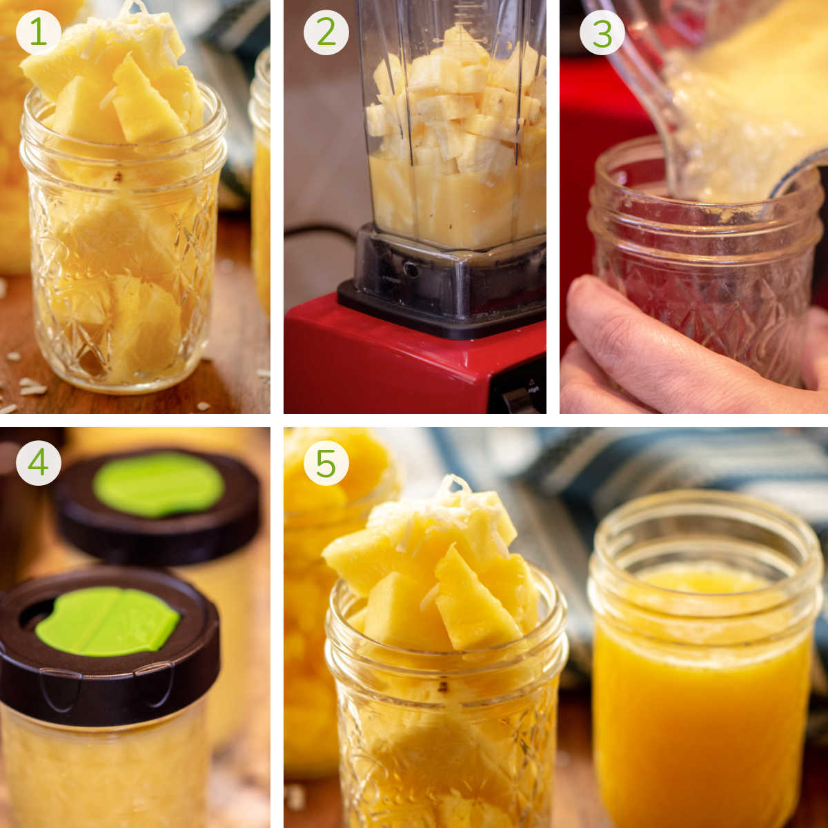 process photos showing cutting the fruit, blending it, pouring it in a freezer safe jar and serving.
