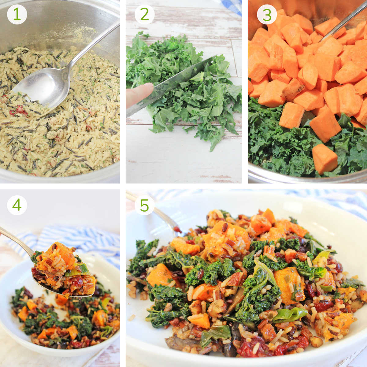 process photos showing making the rice, chopping the kale, adding the veggies and serving.