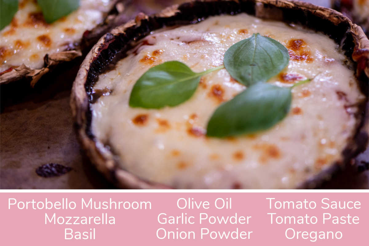 cooked portobello mushroom pizza with fresh basil on top and labels for all ingredients.