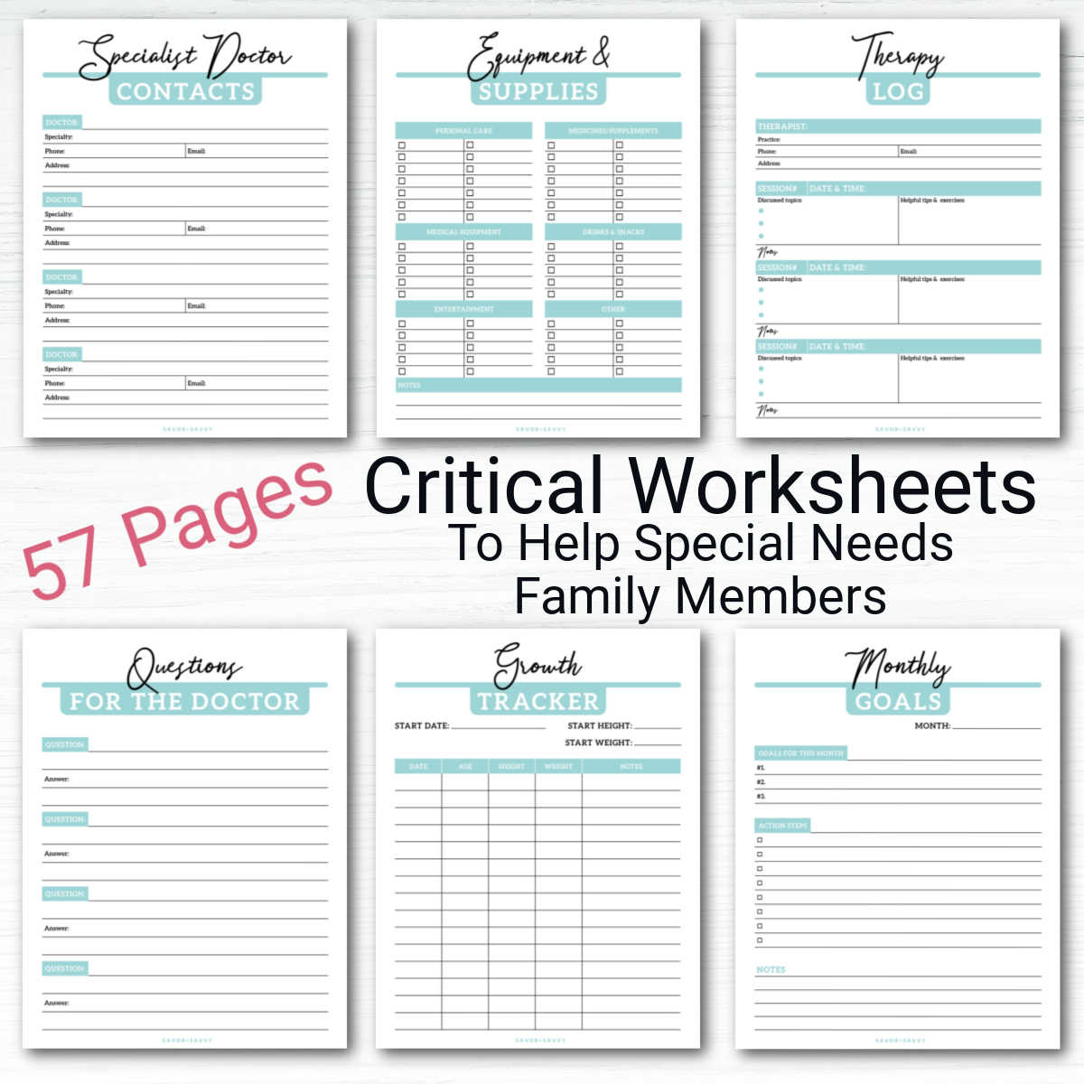 six worksheets on a white background with text to show these critical worksheets and that there are 57 pages in the entire binder.