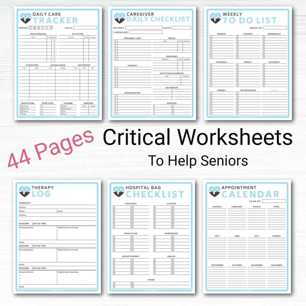 six pages on a white background and a note that these are critical worksheets to help seniors.