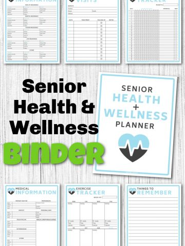 several worksheets on a white background with text reading the senior health and wellness binder.