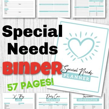 special needs binder pages and colorful text to show it is 57 pages.