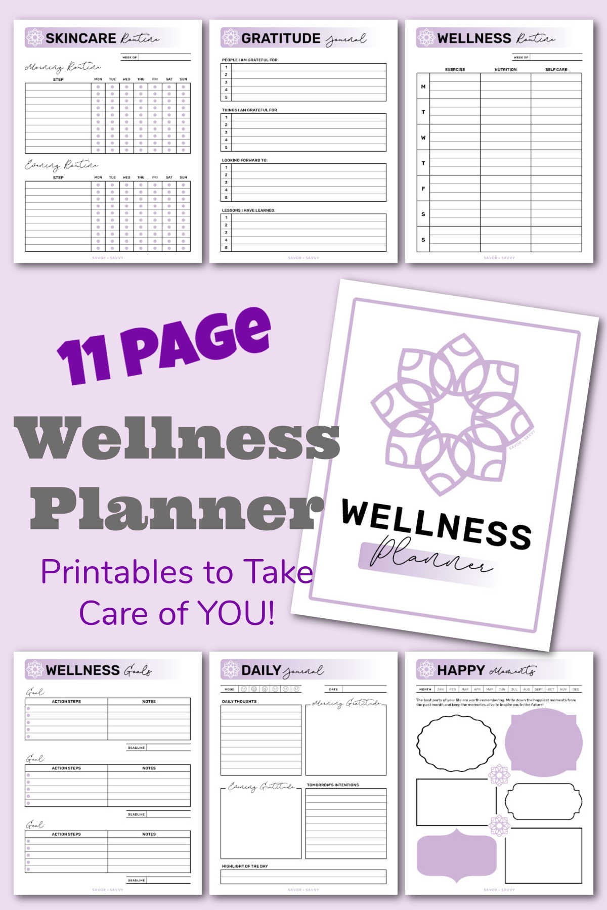 several pages from the printable binder on self care and wellness on a light purple background.