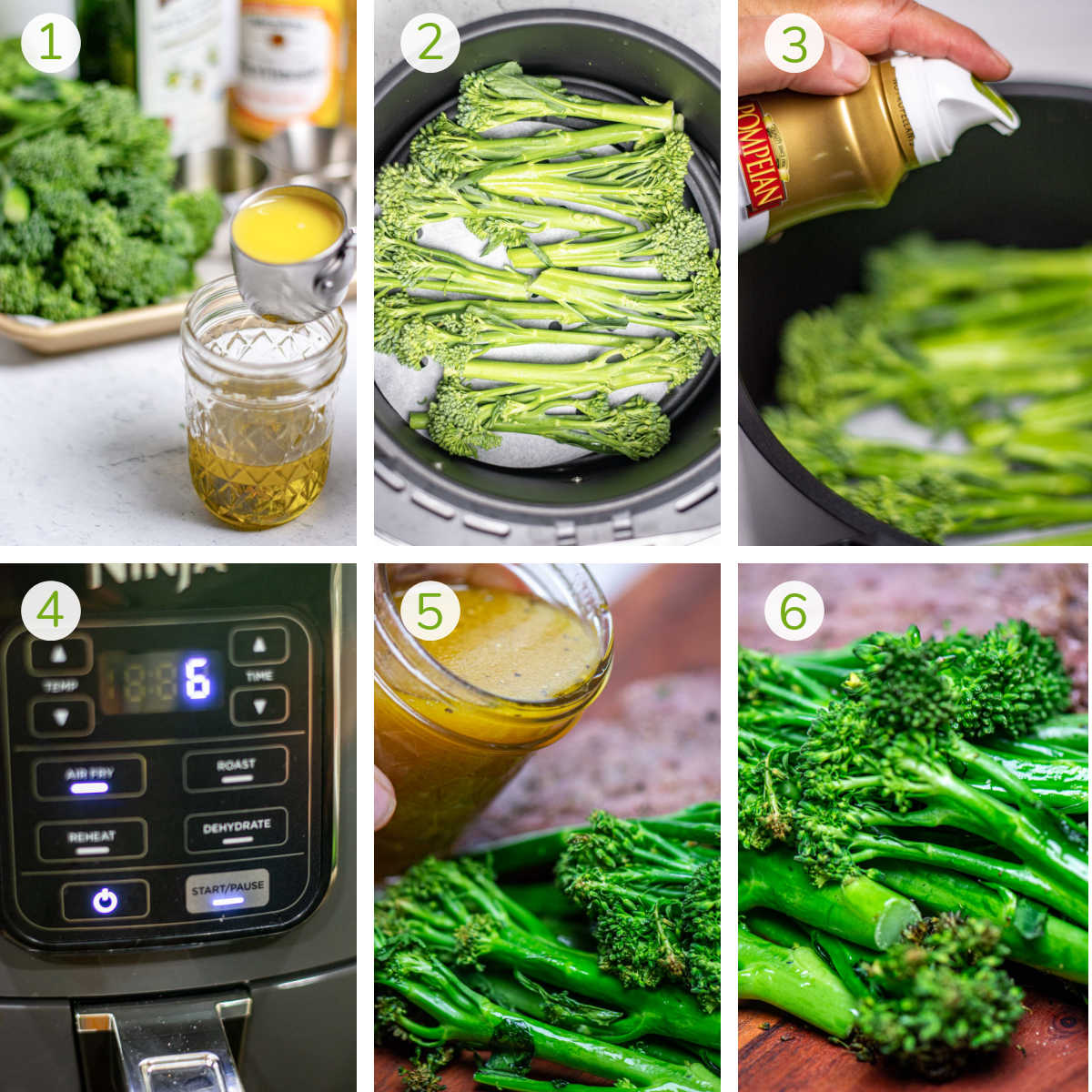 six process photos showing making the citrus dressing, spraying the broccolini, adding it to the air fryer and serving.