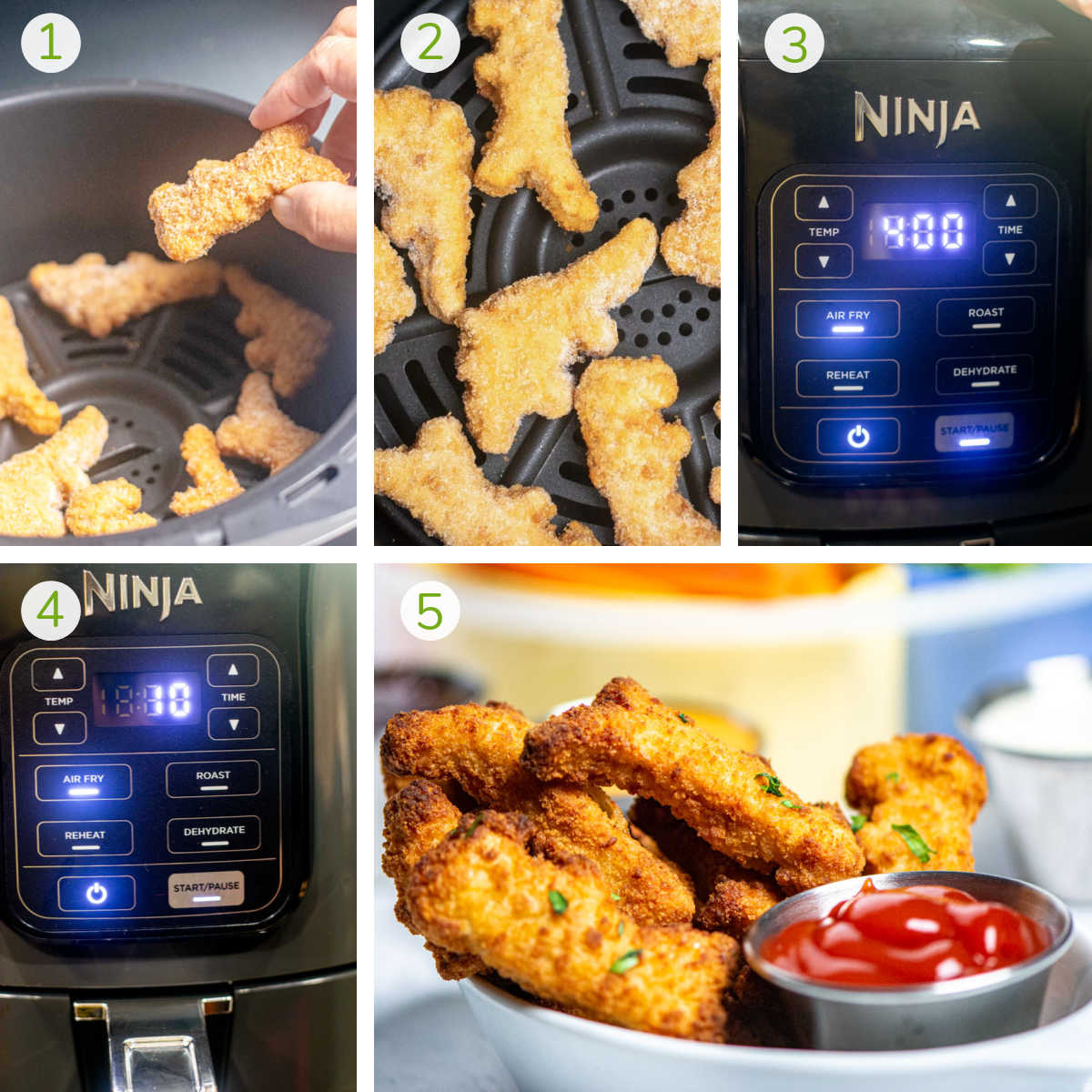 several process photos showing a woman adding the nuggets to the air fryer basket, turning it on and serving.